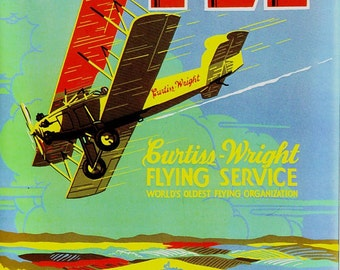Curtiss Wright Flying Service Ad Poster w/ Bi-Plane