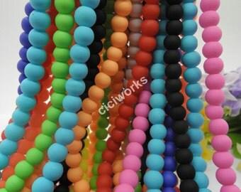 Wholesale 600pcs Multi-color Matte Rubber Neon Round Glass Beads 6mm GD600RBT58