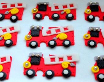 12  Fondant Firetruck cupcake Toppers