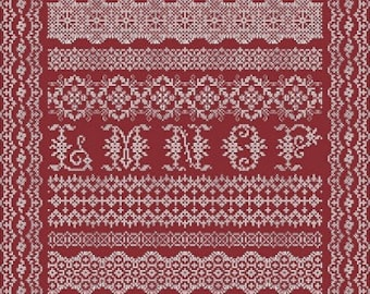 Antique Lace Band Sampler PDF Chart by Northern Expressions Needlework