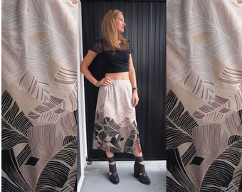 90s Minimalist Midi Skirt with Ombre Palm Fronds