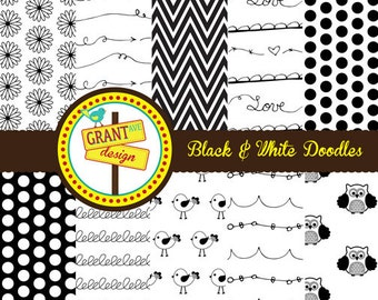 Black and White Doodles Cute Digital Papers - Backgrounds for Invitations, Card Design, Scrapbooking, and Web Design