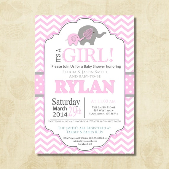 pink elephant baby shower invitation chevron invitation baby boy
