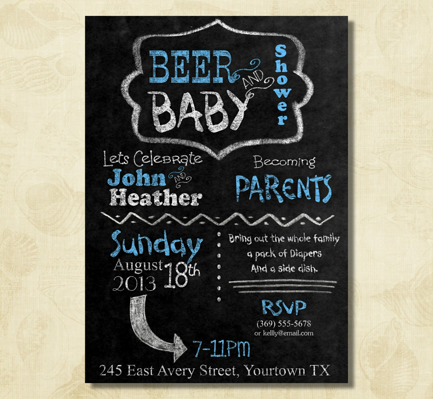blue bbq and diaper party couple dad baby shower invitation