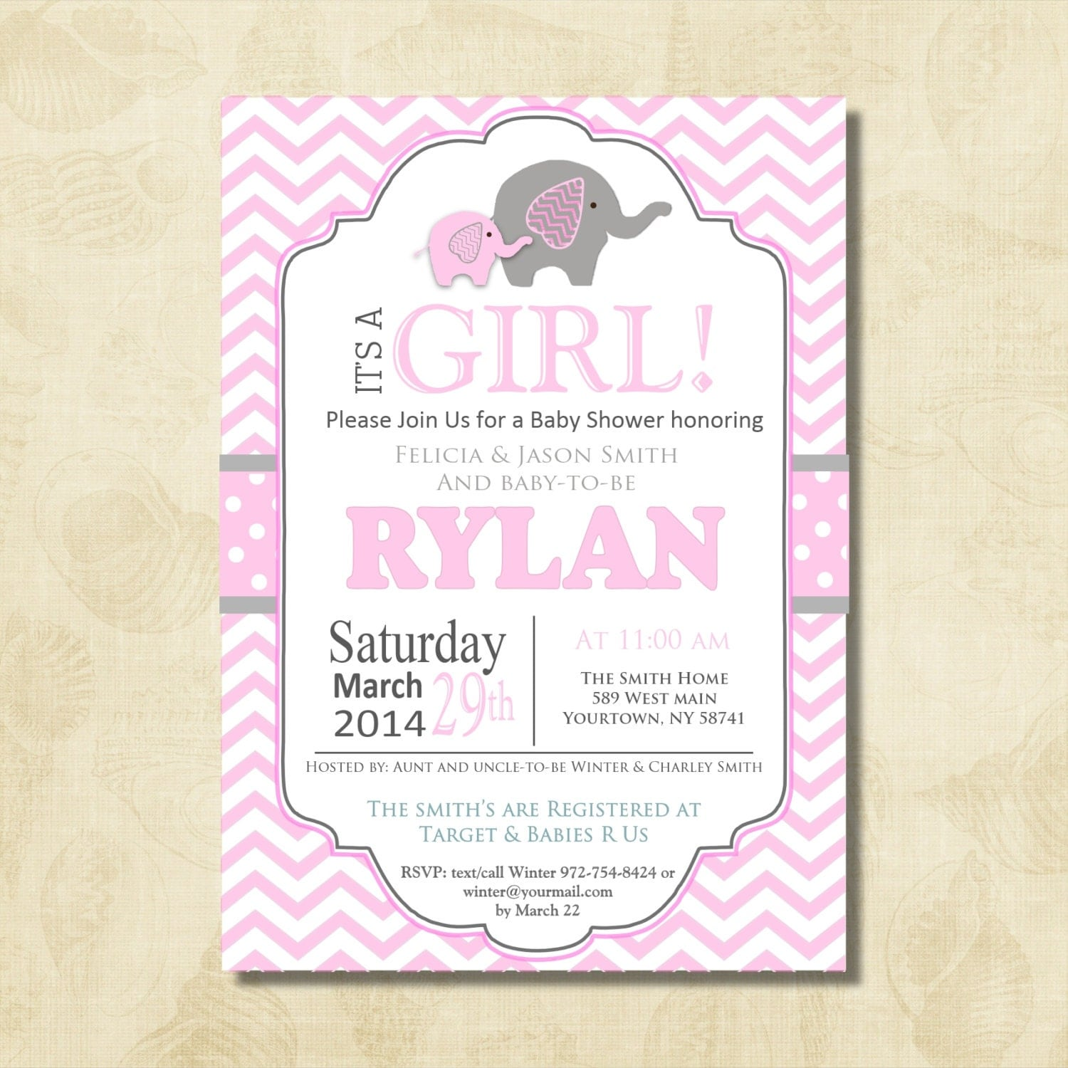 pink elephant baby shower invitation chevron invitation baby