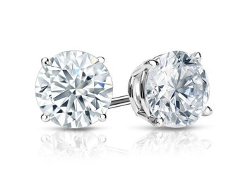 14k White Gold 4-Prong Basket Round Diamond Stud Earrings 1.00 ct. tw. (G-H, SI2)