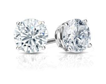 14k Gold 4-Prong Basket Round Diamond Stud Earrings 1.25 ct. tw. (H-I, I2)