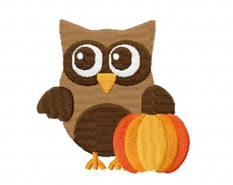 4 X 4 Thanksgiving Owl and Pumpkin Embroidery Design Multiple Formats Available - Instant Download
