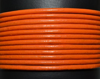 Orange / 1.5mm Leather Cord / leather by the yard / round leather cord / genuine leather / necklace cord / bracelet cord