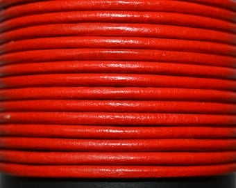 Red - 1mm Leather Cord per yard