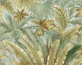 Blue And Green Floral Leaf, Indoor And Outdoor Multipurpose And Upholstery Fabric By The Yard