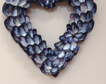 Blue mussel shell heart shaped wreath