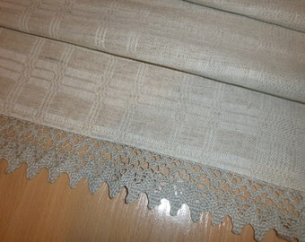 table runner hand woven from natural flax and cotton with lace trim
