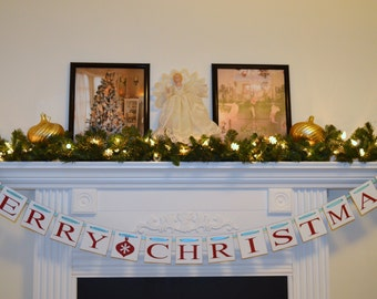 Merry Christmas Banner, Tiffany Inspired Christmas, Christmas Banner Garland, Christmas Decor