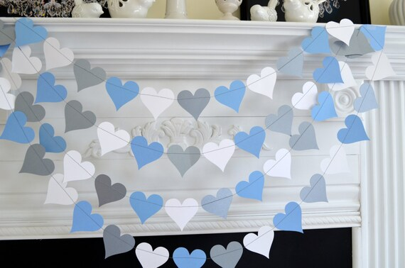 Silver Blue White Heart Garland Baby Boy Decorations Bridal