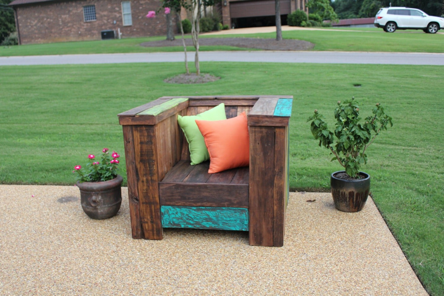 Diy pallet chair with cushion -  Oversized Pallet Reclaimed Wood Chair Zoom
