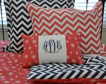Divet cover reversible Coral and Navy Chevron Dorm Twin, Regular Twin & Full/Queen
