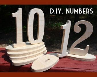 Table Numbers - ON SALE  Wedding Table Number Kit - Wood Numbers - Craft, set 1-15