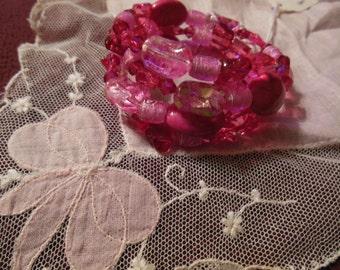 Raspberry/ Hot Pink 3 Row Wrap Bracelet