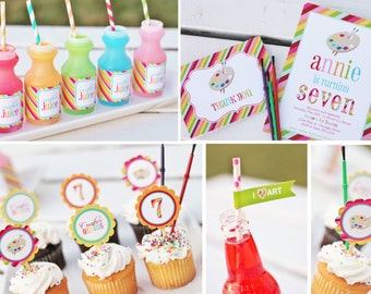 Rainbow Art  Party Printable Set