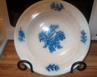 Antique Vintage Flow Blue Soup Bowl or Decorative , Was 10.00 - 20% = 8.00