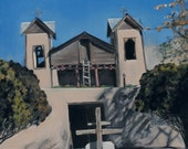 Santuario de Chimayo Original Oil Painting by Santa Fe New Mexico Artist Raquel Underwood (framed)