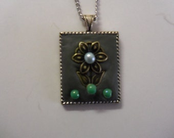 Bezel Pendant using Epoxy clay & charm/beads
