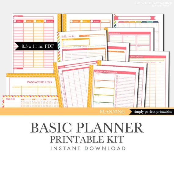 Blank Calendar Kit : Items similar to printable calendar planner set basic