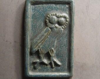 greek owl tile glazed  light green