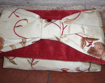 SALE! - Silk, velvet / chenille clutch evening bag