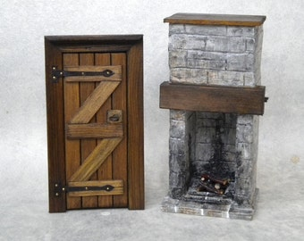 Medieval Dollhouse Miniature Fireplace & Wooden Door