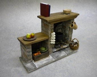 Doll House Fireplace, Doll House Miniatures, Doll House Furniture, DollsHouse Accessory, DollsHouse, One Inch Miniature