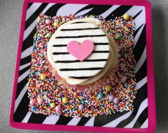 Black, white, and pink heart cupcake toppers