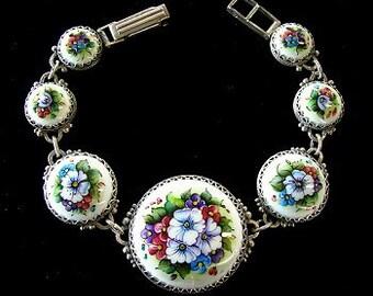 Floral Bracelet Russian Enamel Jewelry