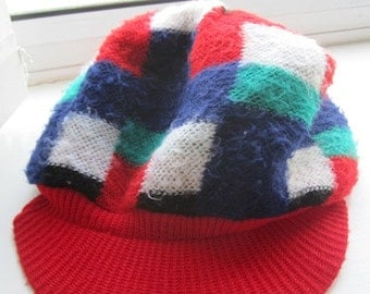 Vintage 1960's Woolly Kangol Hat - Red, White, Blue & Green - Funky!!!!