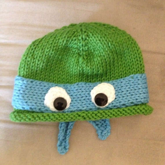 Hand-knit baby Teenage Mutant Ninja Turtle hat by DeviDoesKnit