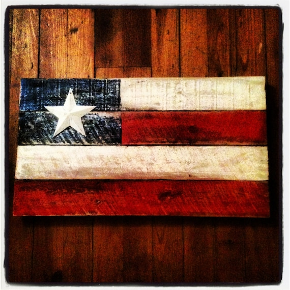 Items Similar To Rustic Pallet Wood American Flag Wall Art