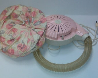 Vintage 1950s PINK General Electric Hair Dryer w/ Carrying Case (H4)