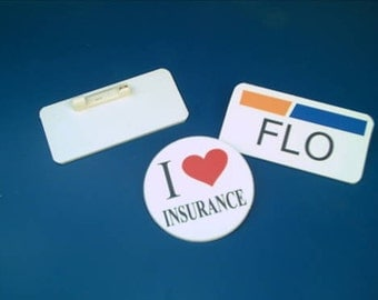 Set of TWO Flo Insurance Badges for Halloween Costume or Accessory