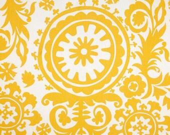 Premier Prints Fabric Suzani Corn Yellow Fabric - 1 Yard - Yellow and White Twill Fabric
