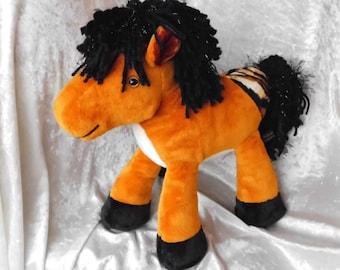 Stuffed animal HORSE plush chestnut horse pony plushie horse with wild mane handmade horse OOAK aqh American Quarter Horse horse art decor