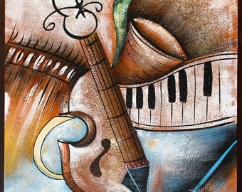 Musical Abstract -- Original Oil Painting on Canvas -- 20 x 24