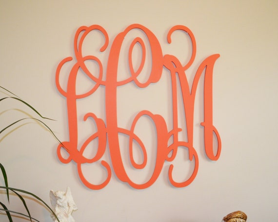 Wall initials decor amusing 24 painted wood monogram initials wall decor hanging decorating design