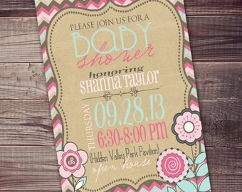 Baby Girl Shower Invitation Modern Any Occasion