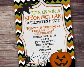 Halloween Party Invitation, digital printable invitation, halloween party invitation, spider pumpkin ghost, trunk or treat invitation