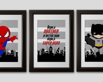 Superhero Wall Art superhero wall art 4 prints shipped color customized