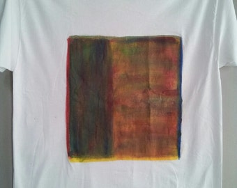 Wearable Art: Acrylic absract hand painted shirt Horses size XL
