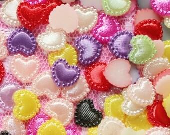 100 Pcs 10mm Heart Flatback Pearls