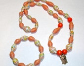Paper Bead Necklace and Bracelet Set (Orange tones w/Owl)