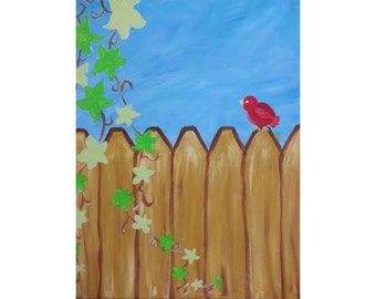 16x20 Hand painted canvas -  Red bird on a fence with blue sky & vines
